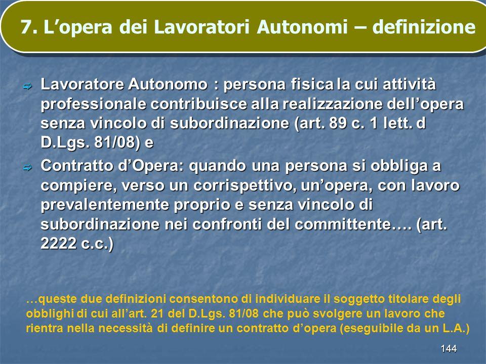 144 7. Lopera dei Lavoratori Autonomi – definizione Lavoratore Autonomo : persona fisica la cui attività professionale contribuisce alla realizzazione