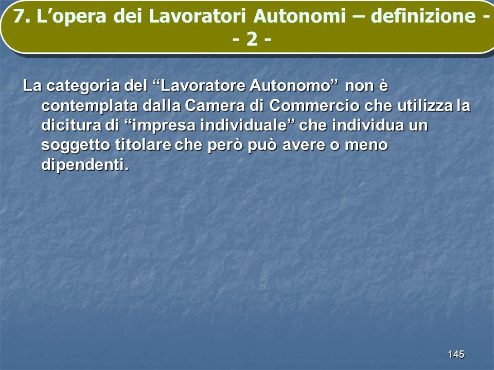 145 7. Lopera dei Lavoratori Autonomi – definizione - - 2 - La categoria del Lavoratore Autonomo non è contemplata dalla Camera di Commercio che utili