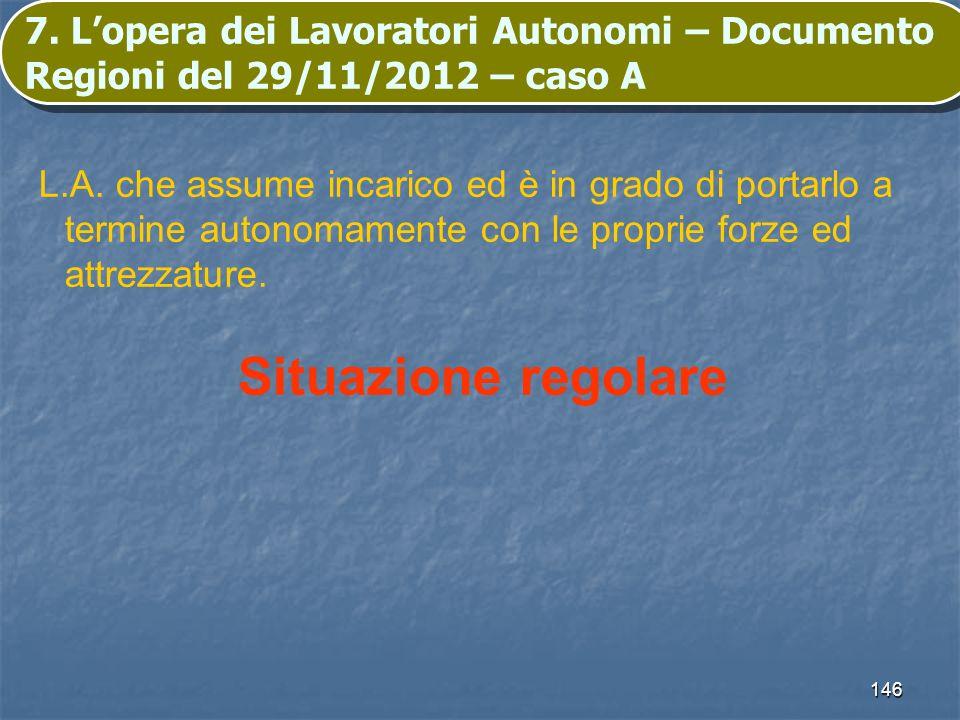 146 7. Lopera dei Lavoratori Autonomi – Documento Regioni del 29/11/2012 – caso A L.A. che assume incarico ed è in grado di portarlo a termine autonom