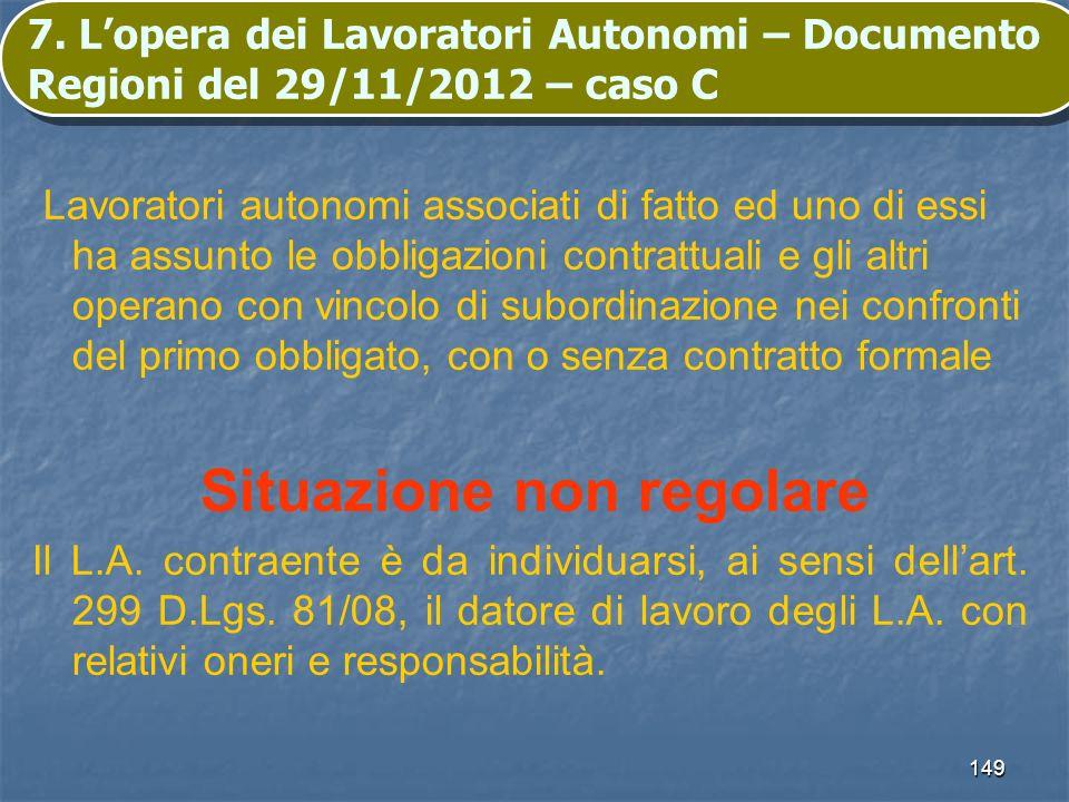 149 7. Lopera dei Lavoratori Autonomi – Documento Regioni del 29/11/2012 – caso C Lavoratori autonomi associati di fatto ed uno di essi ha assunto le