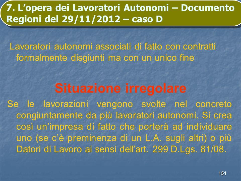 151 7. Lopera dei Lavoratori Autonomi – Documento Regioni del 29/11/2012 – caso D Lavoratori autonomi associati di fatto con contratti formalmente dis