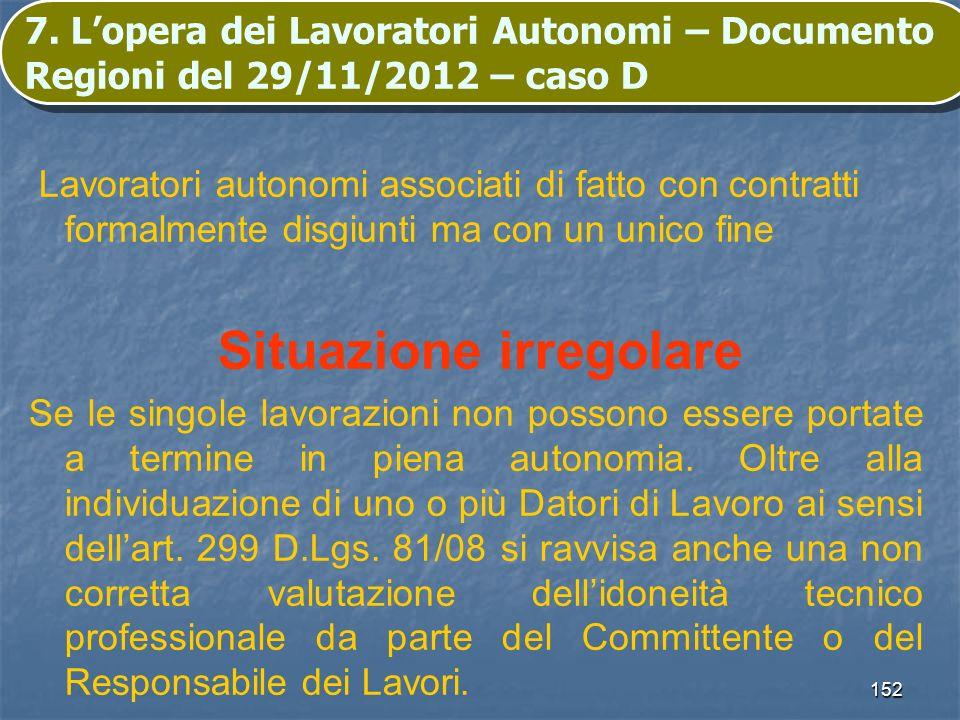 152 7. Lopera dei Lavoratori Autonomi – Documento Regioni del 29/11/2012 – caso D Lavoratori autonomi associati di fatto con contratti formalmente dis
