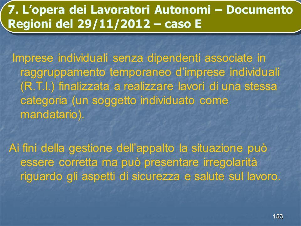 153 7. Lopera dei Lavoratori Autonomi – Documento Regioni del 29/11/2012 – caso E Imprese individuali senza dipendenti associate in raggruppamento tem