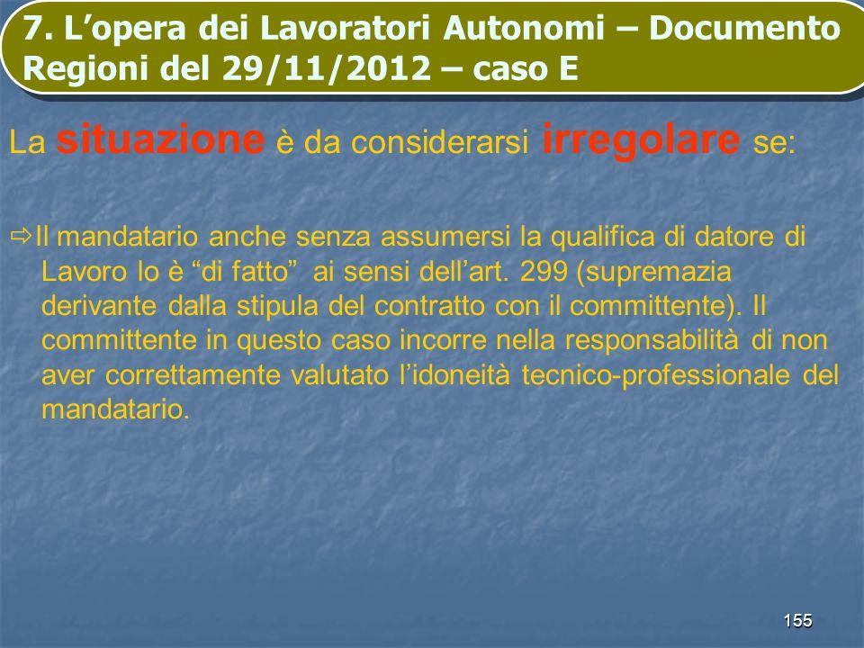 155 7. Lopera dei Lavoratori Autonomi – Documento Regioni del 29/11/2012 – caso E La situazione è da considerarsi irregolare se: Il mandatario anche s