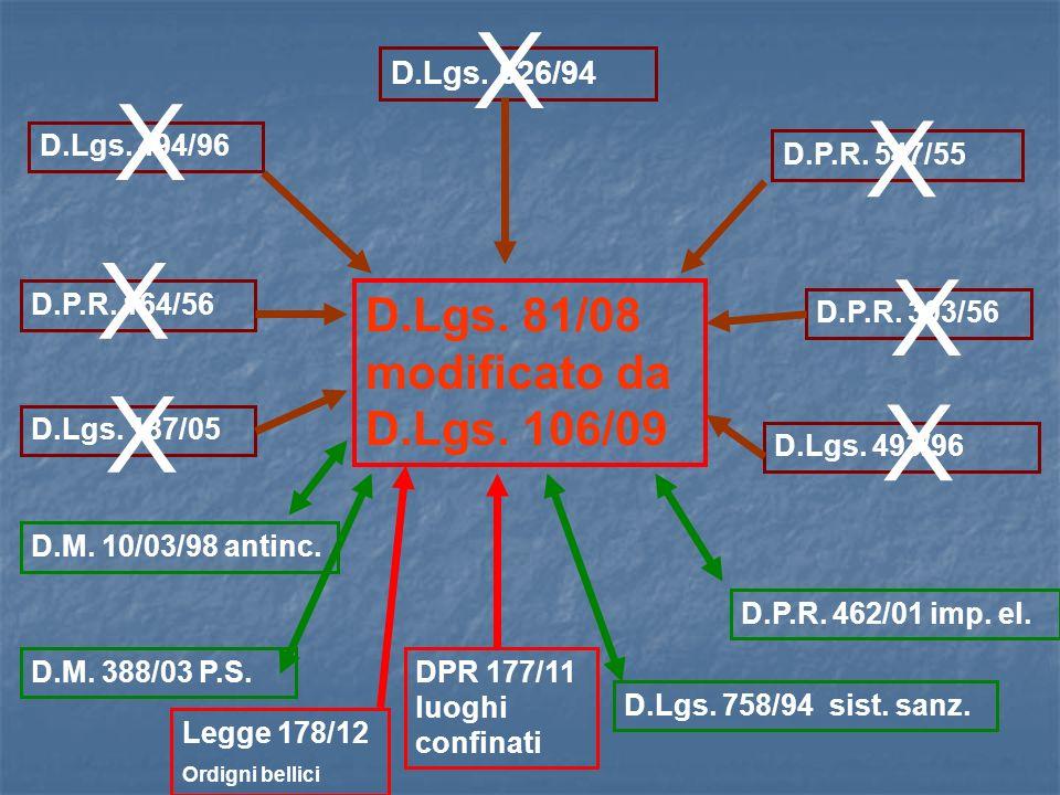 D.Lgs. 626/94 D.Lgs. 494/96 D.P.R. 547/55 D.P.R. 303/56 D.P.R. 164/56 D.Lgs. 187/05 D.Lgs. 493/96 D.M. 10/03/98 antinc. D.M. 388/03 P.S. D.P.R. 462/01