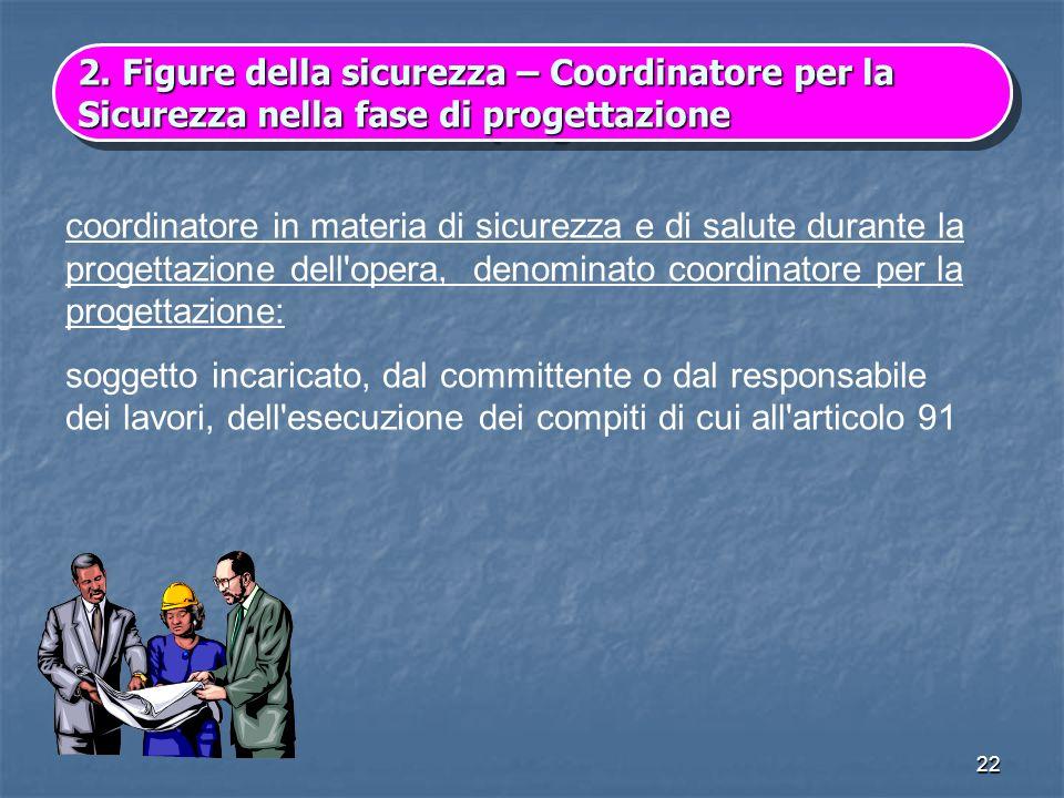 22 2.Figure della sicurezza – Coordinatore per la Sicurezza nella fase di progettazione 2. Figure della sicurezza – Coordinatore per la Sicurezza nell