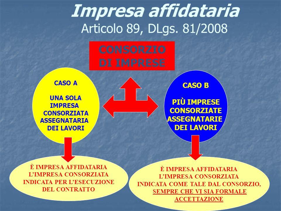 Impresa affidataria Articolo 89, DLgs. 81/2008 CONSORZIO DI IMPRESE CASO A UNA SOLA IMPRESA CONSORZIATA ASSEGNATARIA DEI LAVORI CASO B PIÙ IMPRESE CON