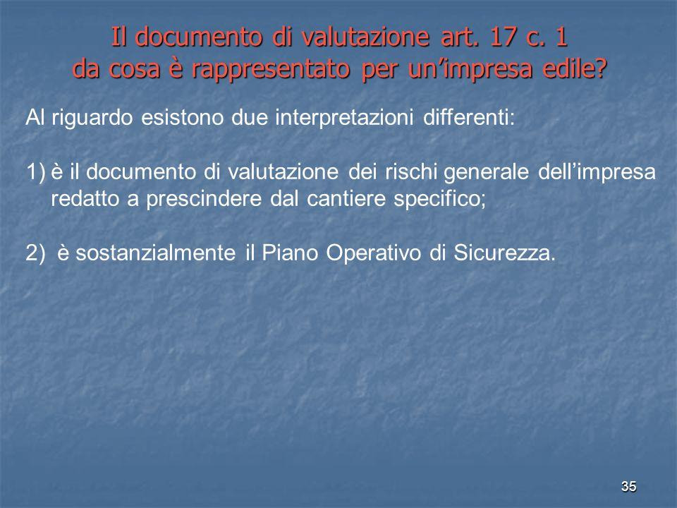 35 Il documento di valutazione art. 17 c. 1 da cosa è rappresentato per unimpresa edile? Al riguardo esistono due interpretazioni differenti: 1)è il d