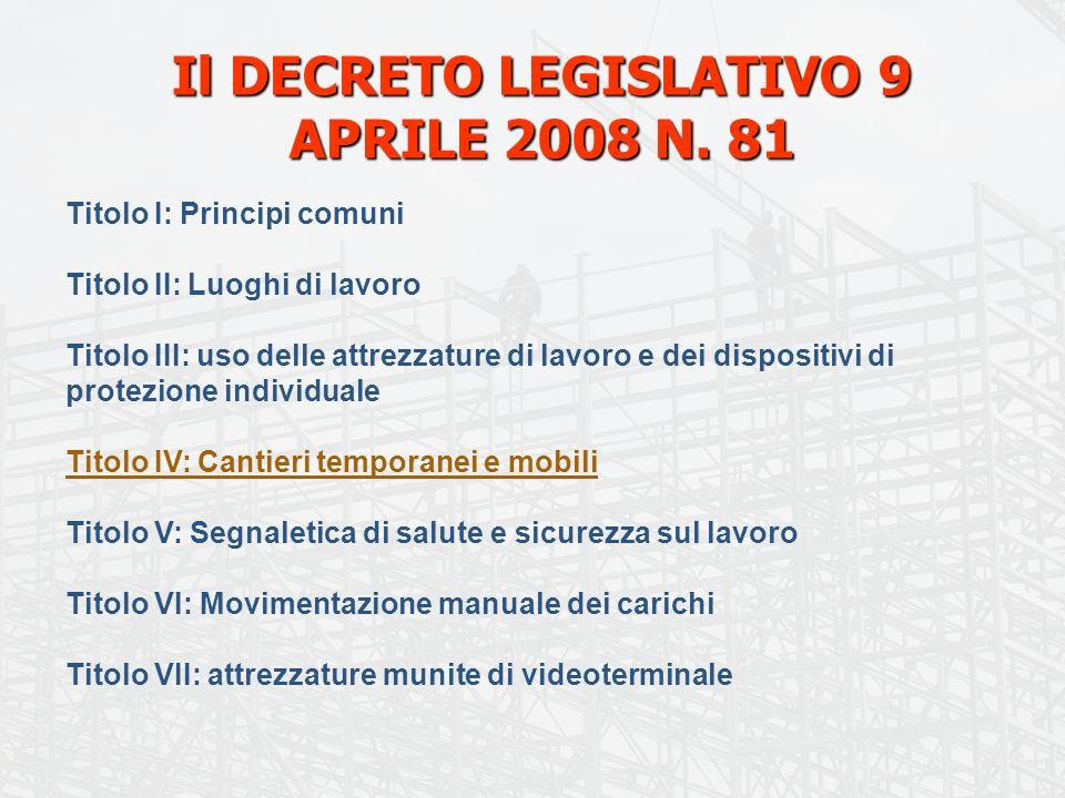 Il DECRETO LEGISLATIVO 9 APRILE 2008 N. 81 Titolo I: Principi comuni Titolo II: Luoghi di lavoro Titolo III: uso delle attrezzature di lavoro e dei di
