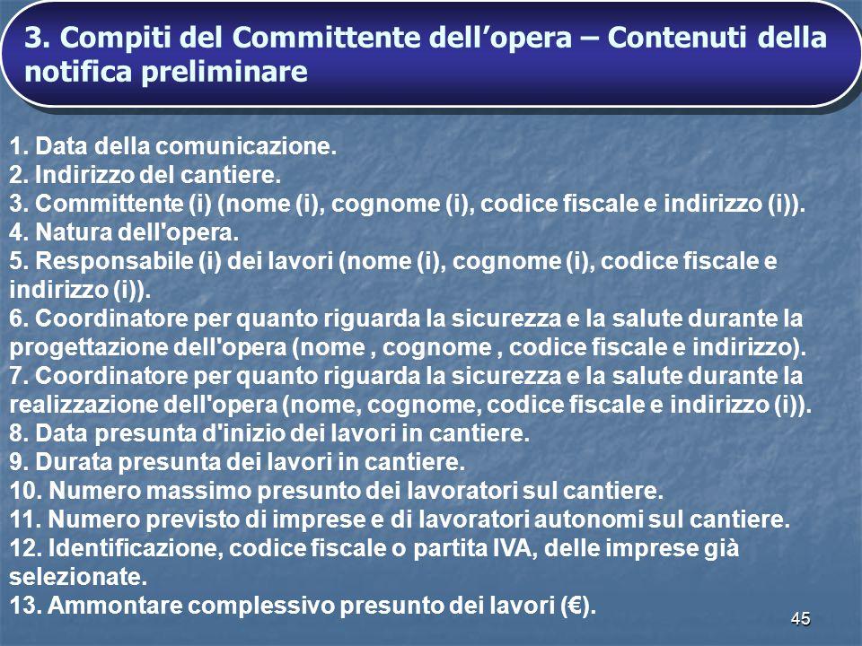 45 1. Data della comunicazione. 2. Indirizzo del cantiere. 3. Committente (i) (nome (i), cognome (i), codice fiscale e indirizzo (i)). 4. Natura dell'