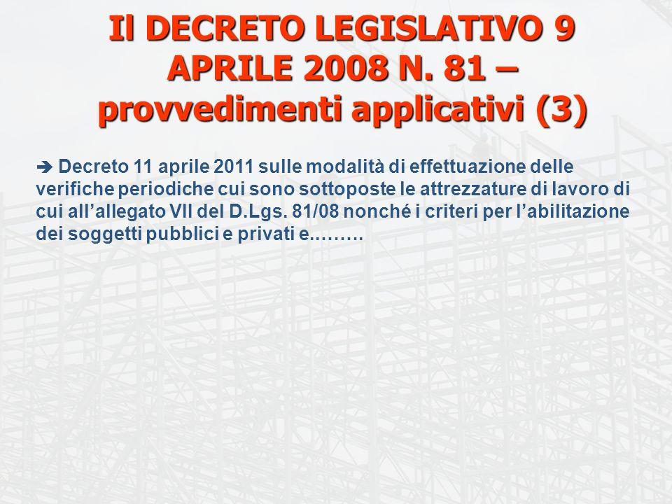 Il DECRETO LEGISLATIVO 9 APRILE 2008 N. 81 – provvedimenti applicativi (3) Decreto 11 aprile 2011 sulle modalità di effettuazione delle verifiche peri