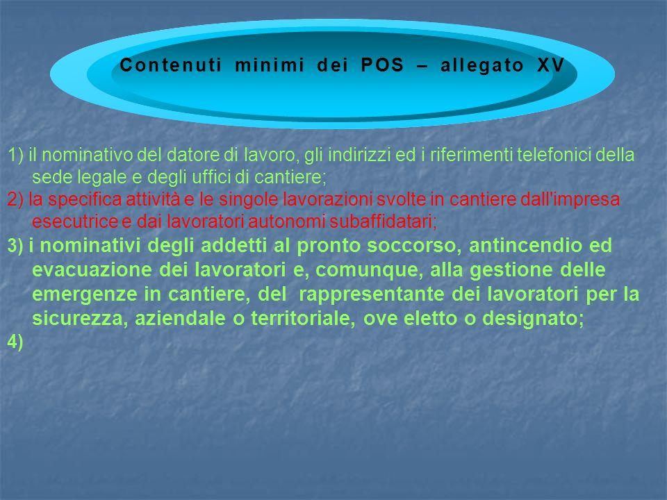 1) il nominativo del datore di lavoro, gli indirizzi ed i riferimenti telefonici della sede legale e degli uffici di cantiere; 2) la specifica attivit