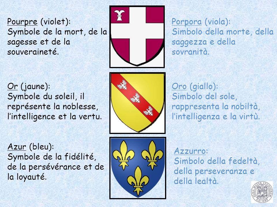 Pourpre (violet): Symbole de la mort, de la sagesse et de la souveraineté. Or (jaune): Symbole du soleil, il représente la noblesse, lintelligence et