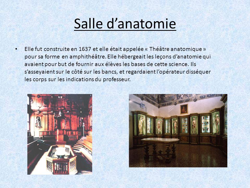 Salle danatomie Elle fut construite en 1637 et elle était appelée « Théâtre anatomique » pour sa forme en amphithéâtre. Elle hébergeait les leçons dan