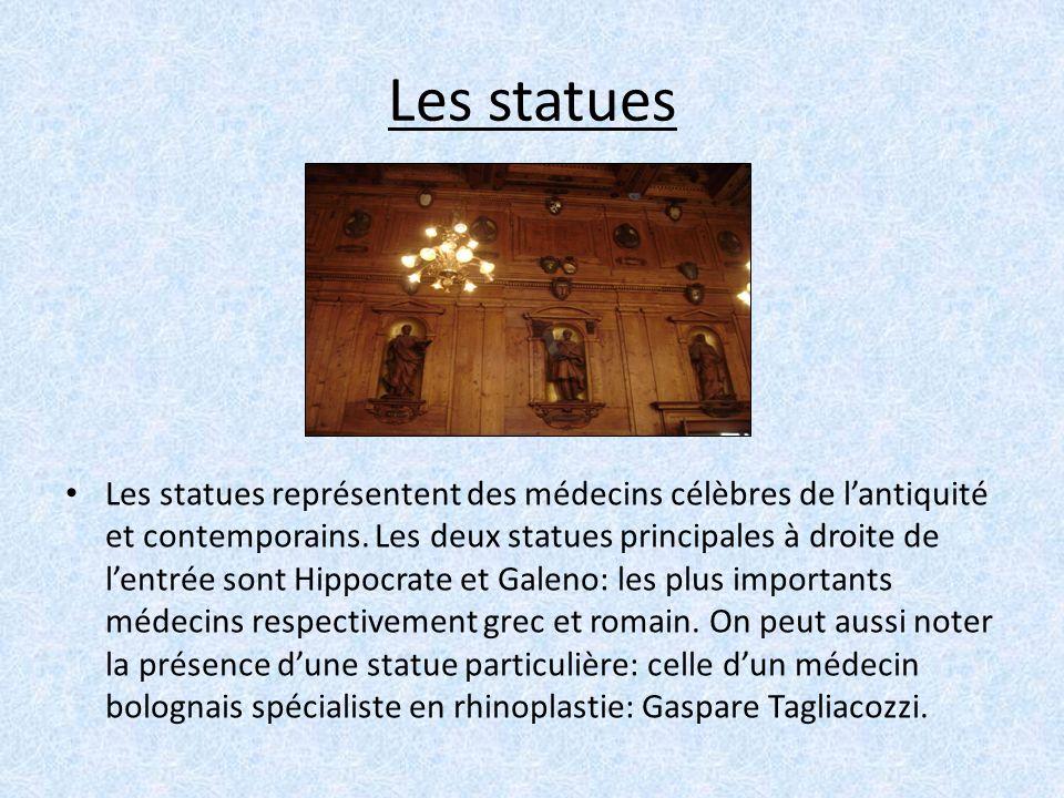 Les statues Les statues représentent des médecins célèbres de lantiquité et contemporains. Les deux statues principales à droite de lentrée sont Hippo