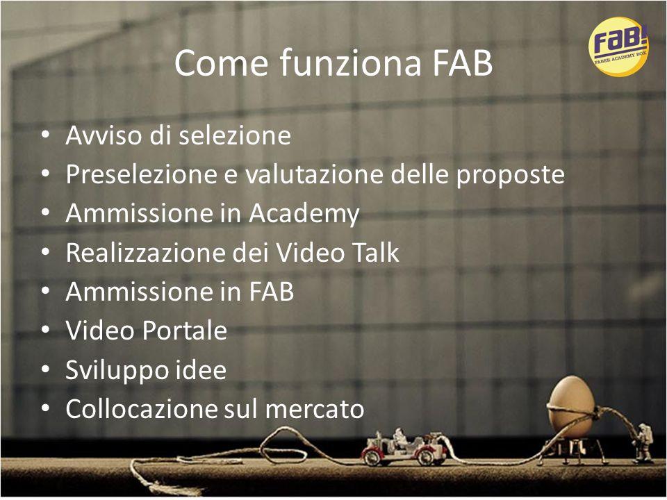 Come funziona FAB Avviso di selezione Preselezione e valutazione delle proposte Ammissione in Academy Realizzazione dei Video Talk Ammissione in FAB Video Portale Sviluppo idee Collocazione sul mercato
