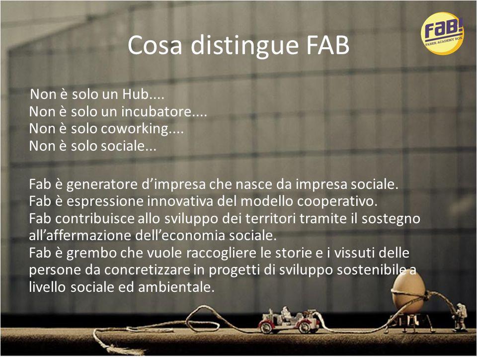 Cosa distingue FAB Non è solo un Hub.... Non è solo un incubatore....