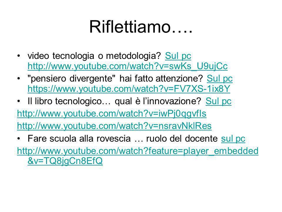 Riflettiamo….video tecnologia o metodologia.