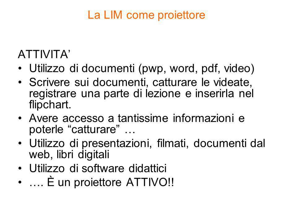 La LIM come proiettore ATTIVITA Utilizzo di documenti (pwp, word, pdf, video) Scrivere sui documenti, catturare le videate, registrare una parte di lezione e inserirla nel flipchart.