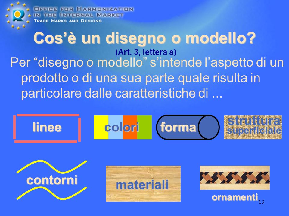 13 Cosè un disegno o modello? Per disegno o modello sintende laspetto di un prodotto o di una sua parte quale risulta in particolare dalle caratterist