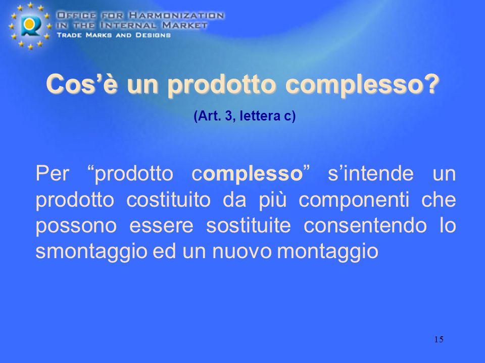 15 Cosè un prodotto complesso? Per prodotto complesso sintende un prodotto costituito da più componenti che possono essere sostituite consentendo lo s