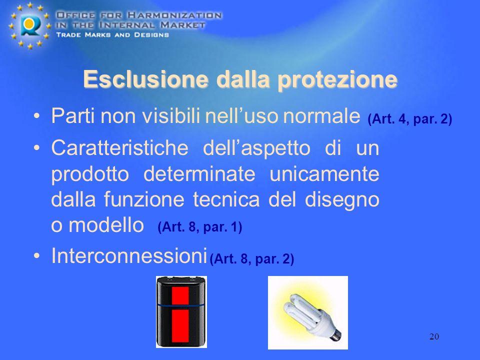 20 Esclusione dalla protezione Parti non visibili nelluso normale (Art. 4, par. 2) Caratteristiche dellaspetto di un prodotto determinate unicamente d