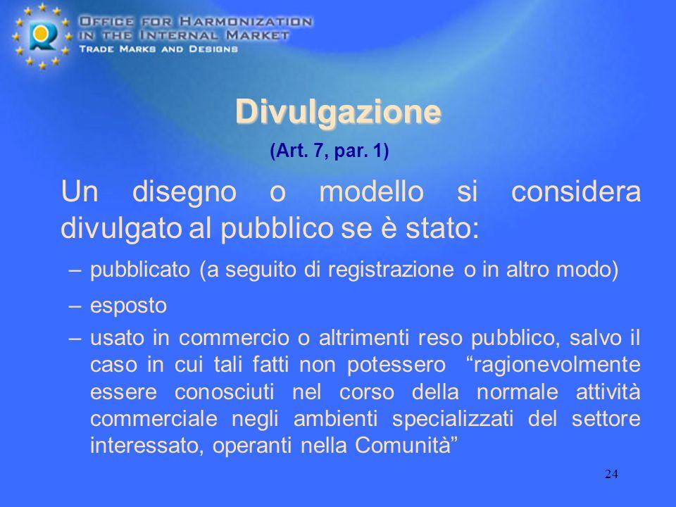 24 Divulgazione Un disegno o modello si considera divulgato al pubblico se è stato: –pubblicato (a seguito di registrazione o in altro modo) –esposto