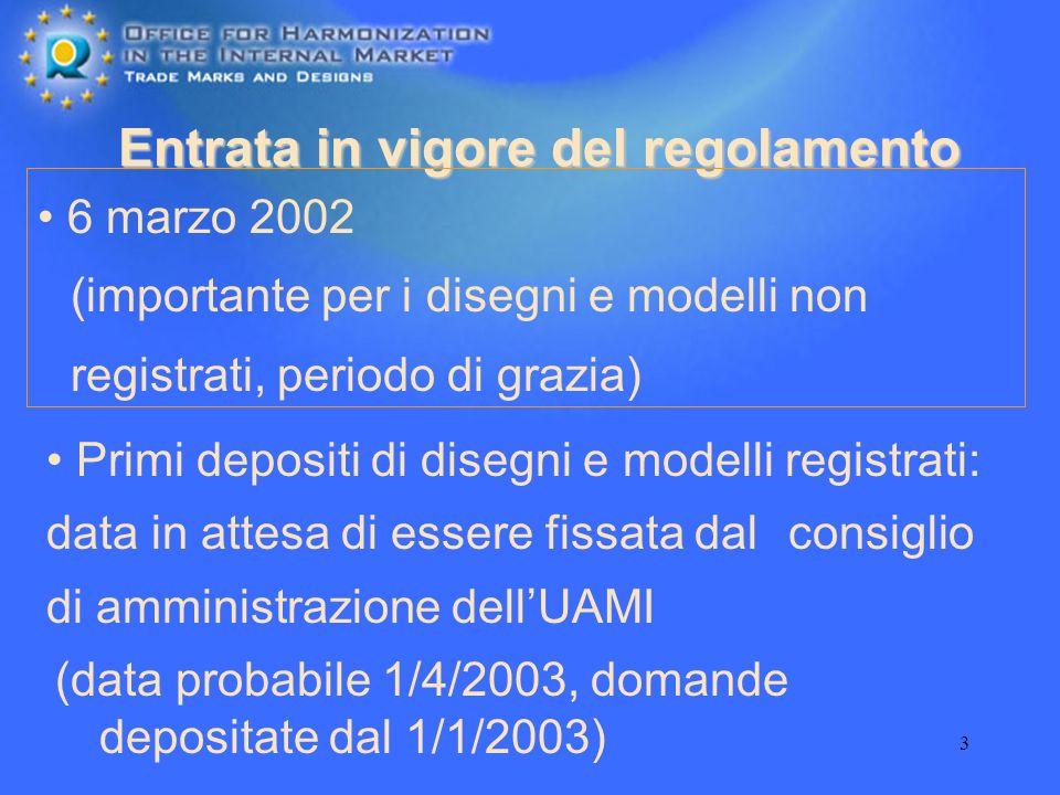 4 Il disegno o modello comunitario: un sistema di protezione a due livelli disegni/modelli comunitari non registrati-DMNR I DMNR entrano in vigore automaticamente mentre i DMR devono essere rivendicati e registrati presso lUAMI disegni/modelli comunitari registrati-DMR