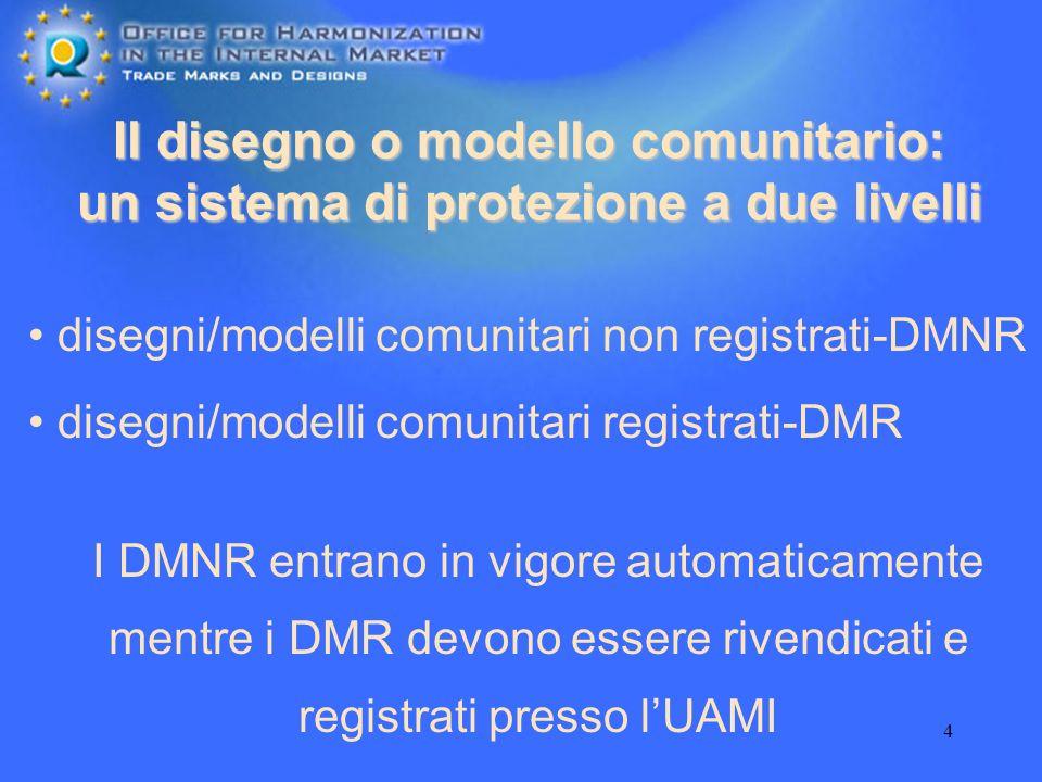 4 Il disegno o modello comunitario: un sistema di protezione a due livelli disegni/modelli comunitari non registrati-DMNR I DMNR entrano in vigore aut
