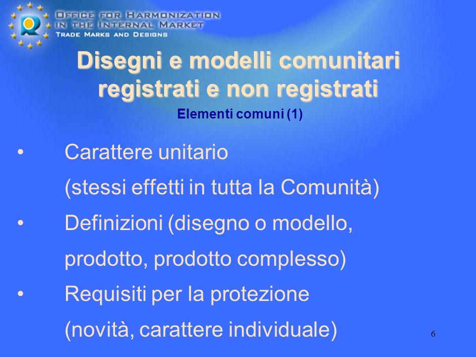 6 Disegni e modelli comunitari registrati e non registrati Carattere unitario (stessi effetti in tutta la Comunità) Definizioni (disegno o modello, pr