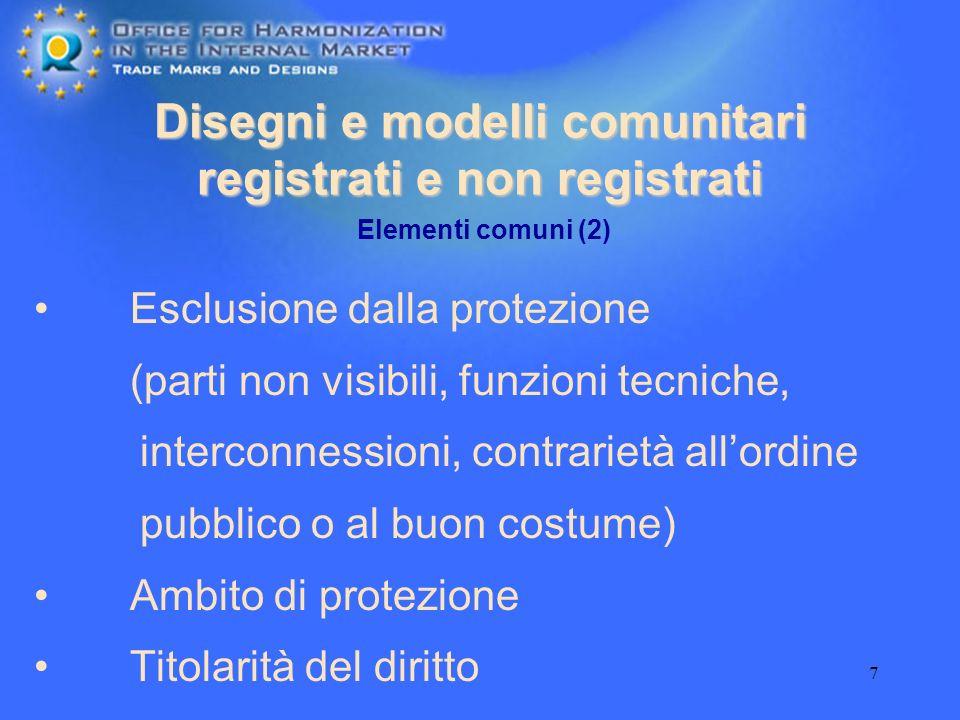 7 Disegni e modelli comunitari registrati e non registrati Esclusione dalla protezione (parti non visibili, funzioni tecniche, interconnessioni, contr