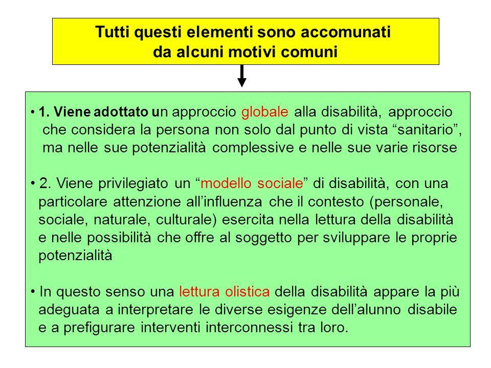 Tutti questi elementi sono accomunati da alcuni motivi comuni 1. Viene adottato u n approccio globale alla disabilità, approccio che considera la pers