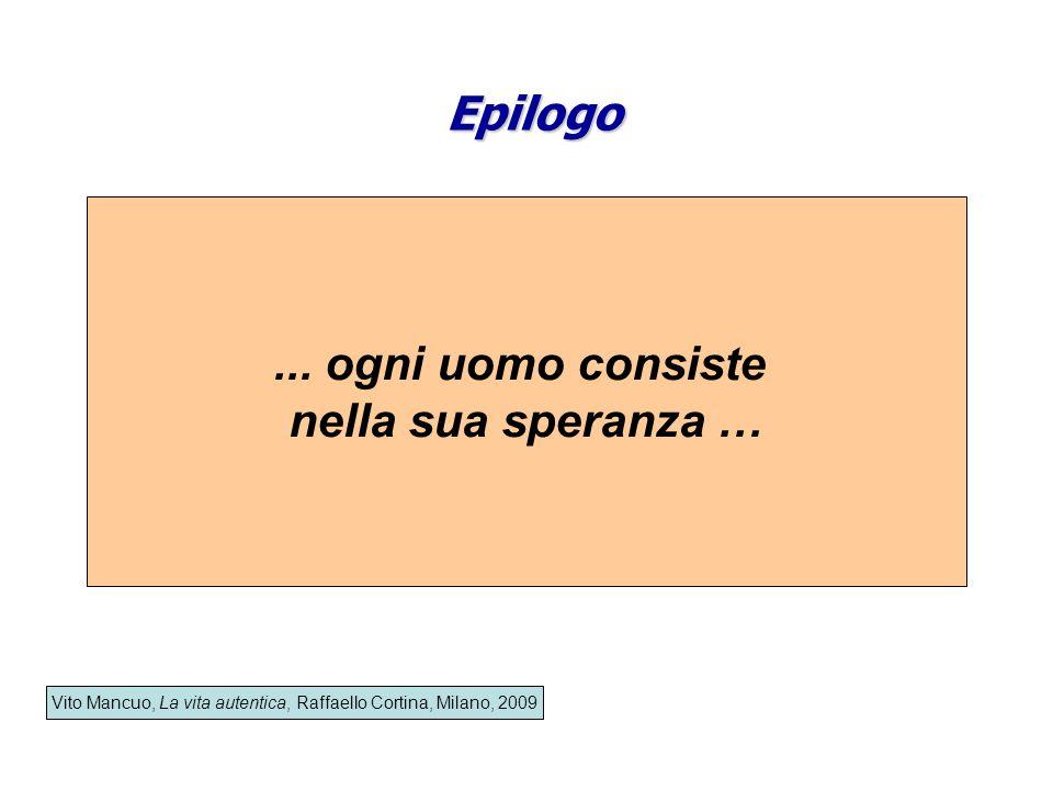 Epilogo Vito Mancuo, La vita autentica, Raffaello Cortina, Milano, 2009... ogni uomo consiste nella sua speranza …