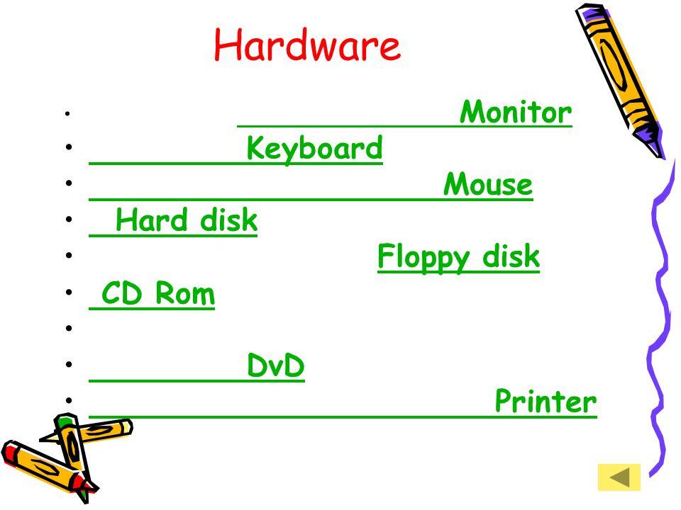 Struttura Le parti materiali pesanti vengono chiamate hardware, mentre le parti materiali leggere vengono chiamate software. hardware, software.