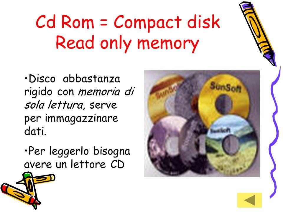 Floppy disk = disco flessibile Il floppy disk un dischetto protetto da una custodia flessibile. Serve per immagazzinare dati Per leggerlo si deve inse