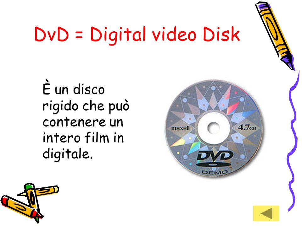 Cd Rom = Compact disk Read only memory Disco abbastanza rigido con memoria di sola lettura, serve per immagazzinare dati. Per leggerlo bisogna avere u