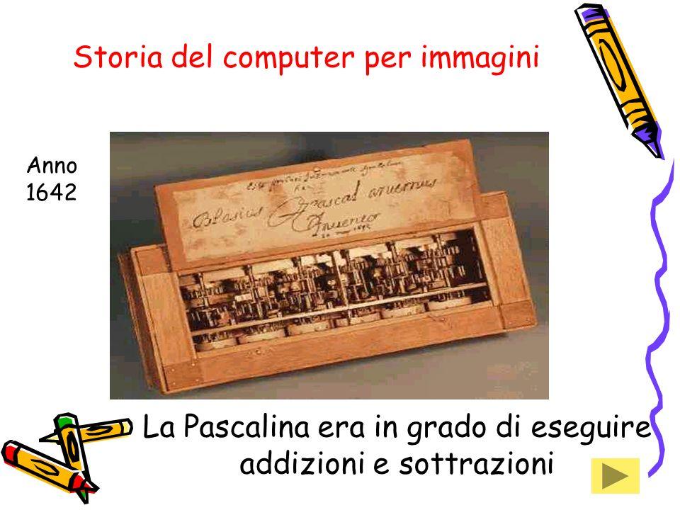 Storia del computer per immagini La Pascalina era in grado di eseguire addizioni e sottrazioni Anno 1642