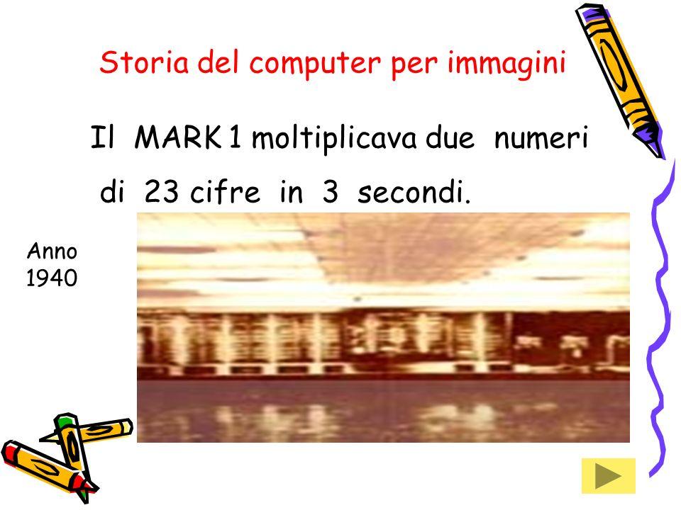 Storia del computer per immagini Il MARK 1 moltiplicava due numeri di 23 cifre in 3 secondi.