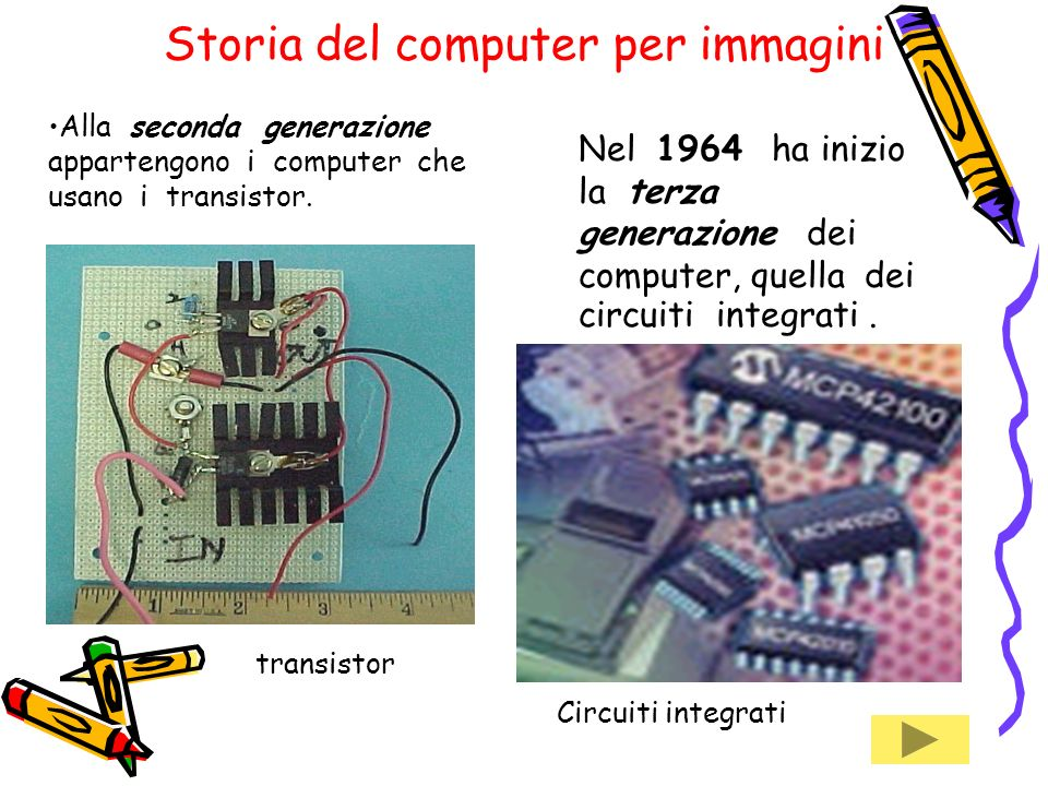 Alla seconda generazione appartengono i computer che usano i transistor.
