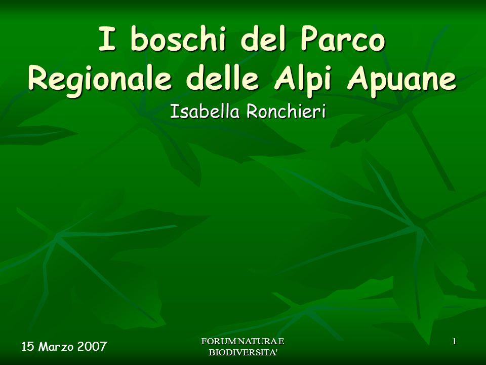 FORUM NATURA E BIODIVERSITA' 1 I boschi del Parco Regionale delle Alpi Apuane Isabella Ronchieri 15 Marzo 2007