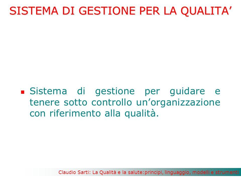 Claudio Sarti: La Qualità e la salute:principi, linguaggio, modelli e strumenti SISTEMA DI GESTIONE PER LA QUALITA Sistema di gestione per guidare e tenere sotto controllo unorganizzazione con riferimento alla qualità.