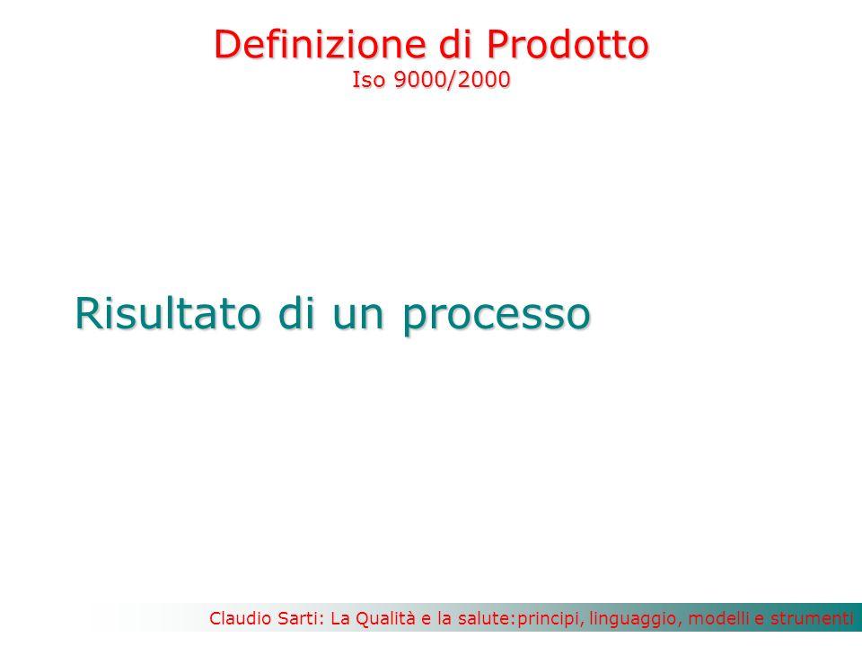 Claudio Sarti: La Qualità e la salute:principi, linguaggio, modelli e strumenti Definizione di Prodotto Iso 9000/2000 Risultato di un processo