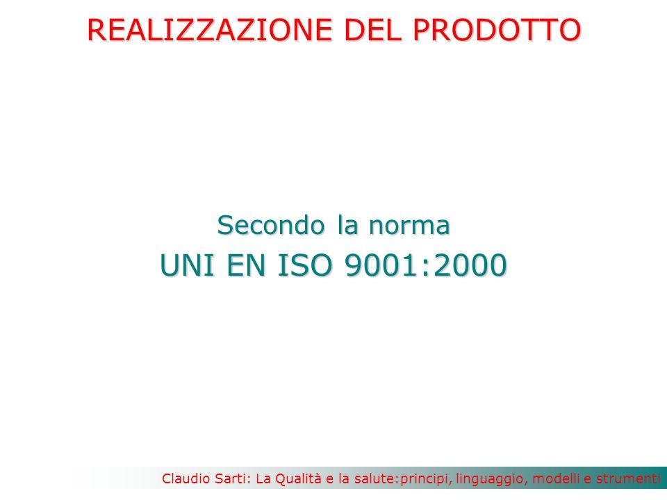 Claudio Sarti: La Qualità e la salute:principi, linguaggio, modelli e strumenti REALIZZAZIONE DEL PRODOTTO Secondo la norma UNI EN ISO 9001:2000