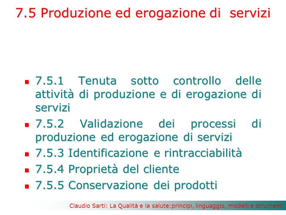 Claudio Sarti: La Qualità e la salute:principi, linguaggio, modelli e strumenti 7.5 Produzione ed erogazione di servizi 7.5.1 Tenuta sotto controllo delle attività di produzione e di erogazione di servizi 7.5.1 Tenuta sotto controllo delle attività di produzione e di erogazione di servizi 7.5.2 Validazione dei processi di produzione ed erogazione di servizi 7.5.2 Validazione dei processi di produzione ed erogazione di servizi 7.5.3 Identificazione e rintracciabilità 7.5.3 Identificazione e rintracciabilità 7.5.4 Proprietà del cliente 7.5.4 Proprietà del cliente 7.5.5 Conservazione dei prodotti 7.5.5 Conservazione dei prodotti