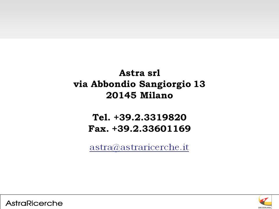 Astra srl via Abbondio Sangiorgio 13 20145 Milano Tel. +39.2.3319820 Fax. +39.2.33601169