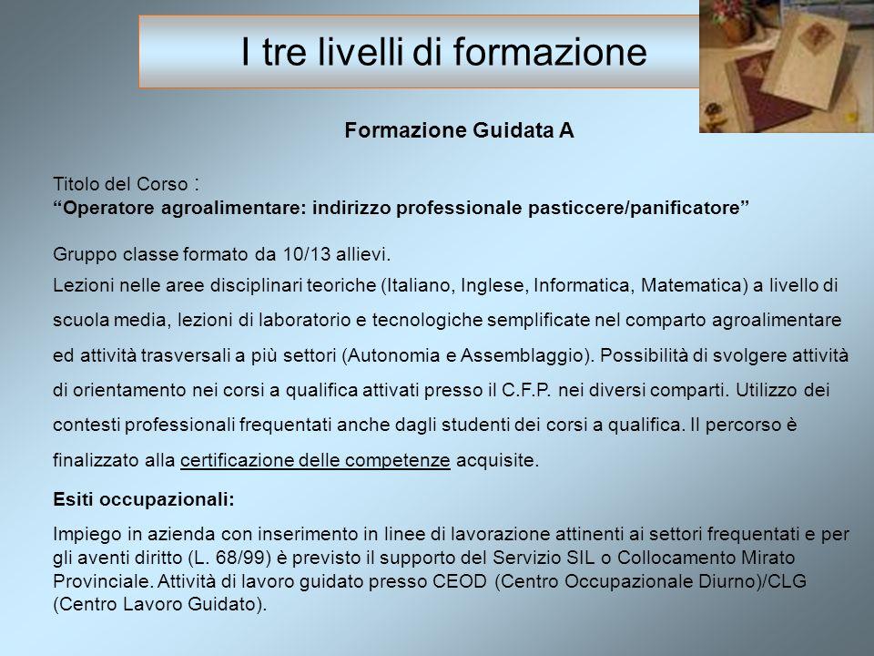 Formazione Guidata A Titolo del Corso : Operatore agroalimentare: indirizzo professionale pasticcere/panificatore Gruppo classe formato da 10/13 allievi.