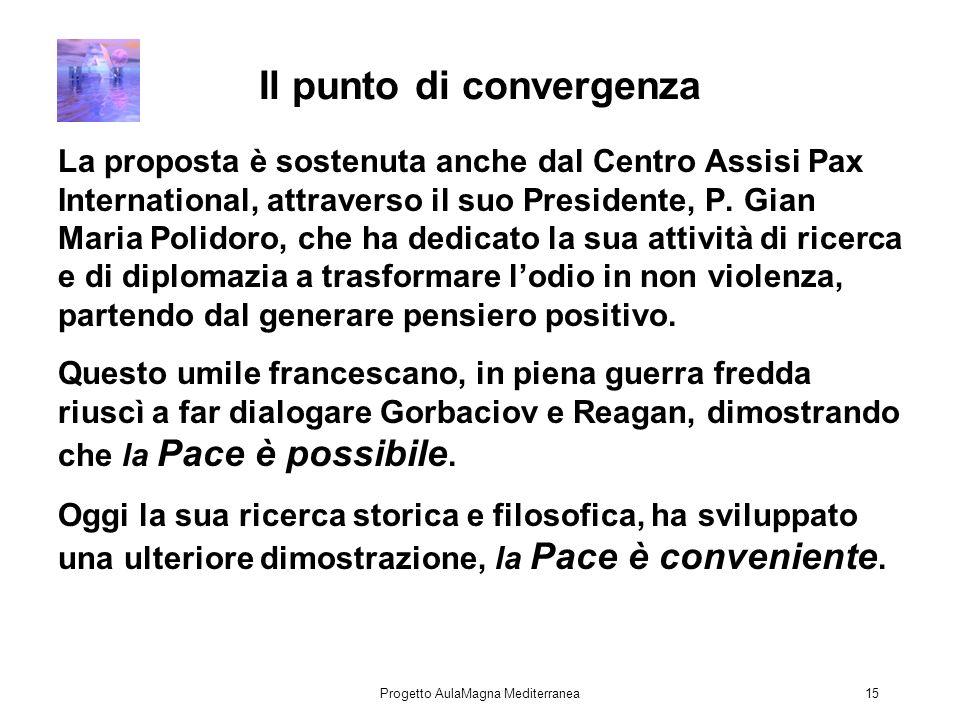 Progetto AulaMagna Mediterranea15 Il punto di convergenza La proposta è sostenuta anche dal Centro Assisi Pax International, attraverso il suo Presidente, P.