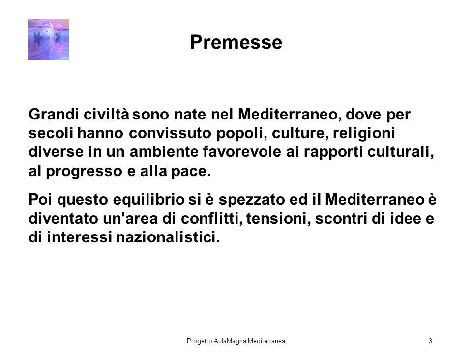 Progetto AulaMagna Mediterranea3 Premesse Grandi civiltà sono nate nel Mediterraneo, dove per secoli hanno convissuto popoli, culture, religioni diverse in un ambiente favorevole ai rapporti culturali, al progresso e alla pace.
