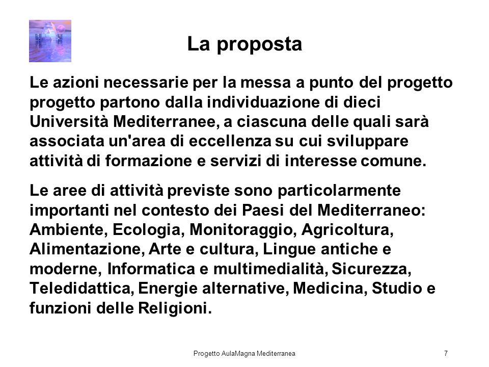 Progetto AulaMagna Mediterranea7 La proposta Le azioni necessarie per la messa a punto del progetto progetto partono dalla individuazione di dieci Università Mediterranee, a ciascuna delle quali sarà associata un area di eccellenza su cui sviluppare attività di formazione e servizi di interesse comune.