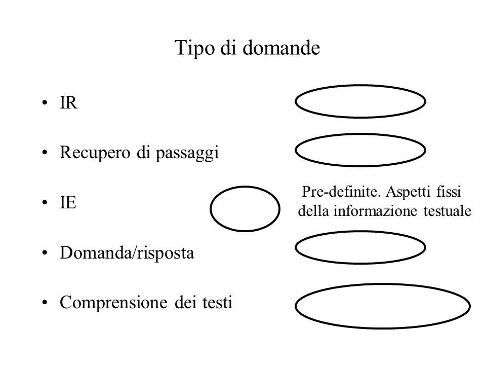 Come funziona FASTUS 1.Parole complesse e nomi propri 2.Sintagmi semplici: nominali, verbali, particelle 3.Sintagmi complessi: 4.Eventi rilevanti Costruzione di semplici templates 5.